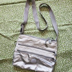 Kipling silver & white crossbody bag